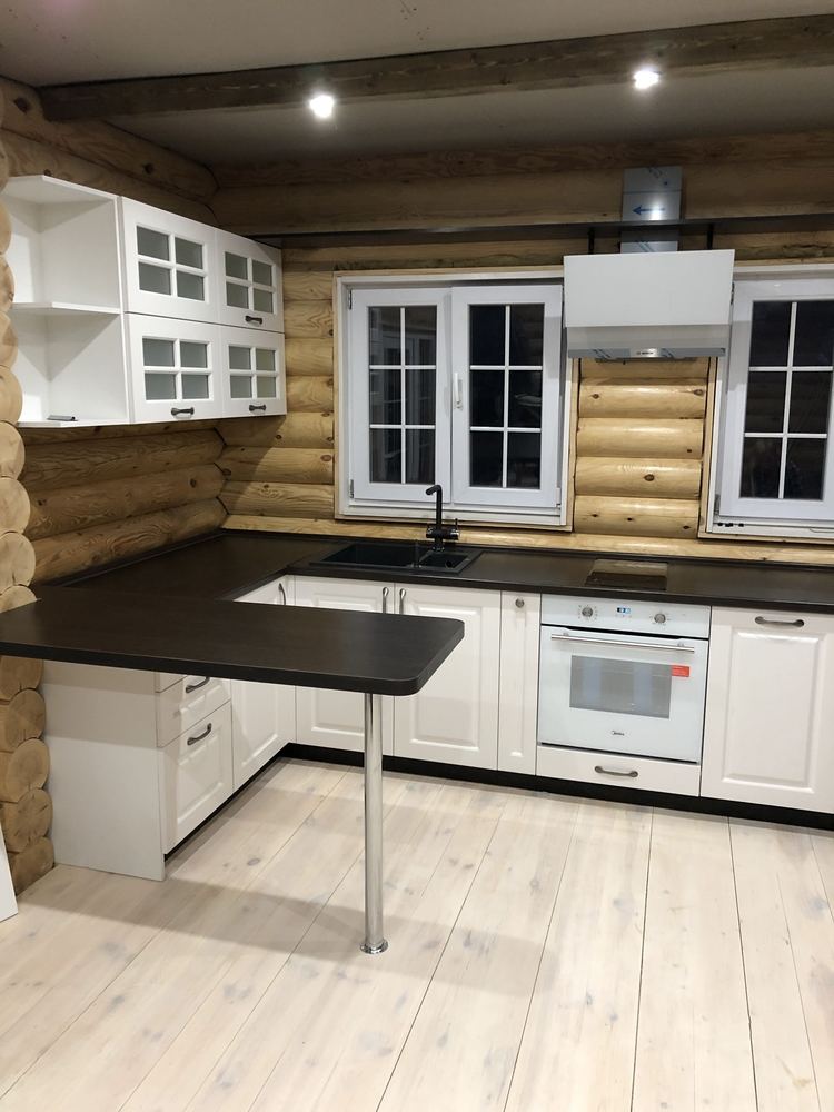 Белый кухонный гарнитур-Кухня МДФ в эмали «Модель 72»-фото1