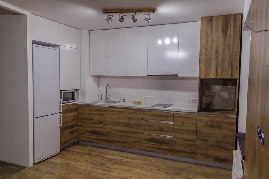 Белый кухонный гарнитур-Кухня из пластика «Модель 422»-фото2